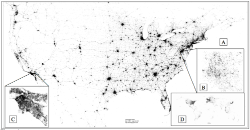 Each point corresponds to a geo-located tweet from 2011. (A) USA (B) Washington, D.C. (C) Los Angeles (D) Earth