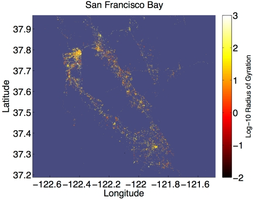 The Bay Area is shown with a dot for each tweet, colored by the radius of gyration of its author.